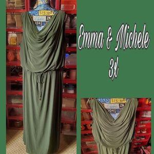 NWT 3X EMMA & MICHELE OLIVE GREEN DRAPED NECK MAXI
